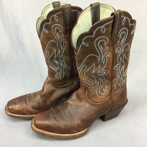 Ariat Rowdy Square Toe Cowgirl Western Boots sz 9B